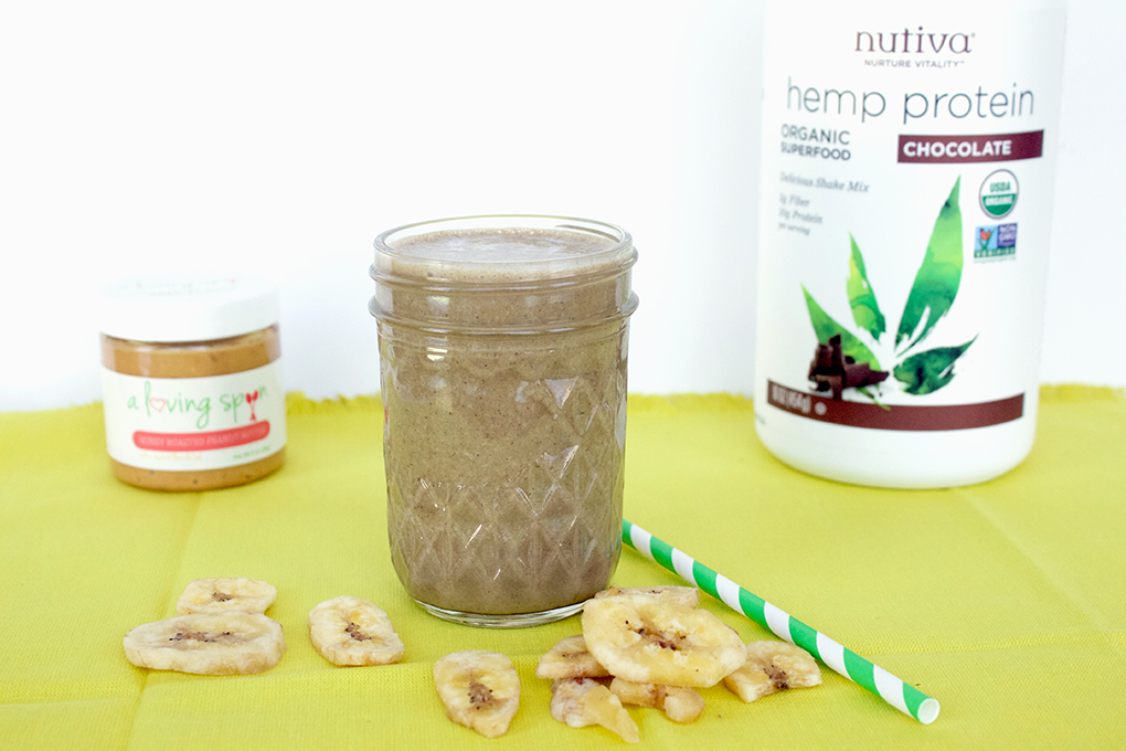 Smoothie Recipes Galore SKH Organic Hemp Protein Chunky Monkey Smoothie 7 Days of Smoothies Challenge with Nutiva sarahkayhoffman.com