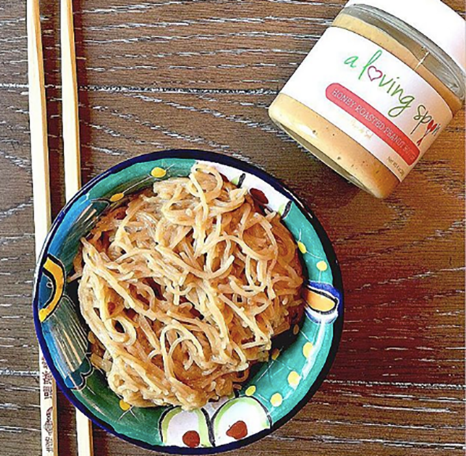 Sit Down, Let's Chat Over Broth Thai Peanut Sauce Noodles sarahkayhoffman.com A Loving Spoon nut butter