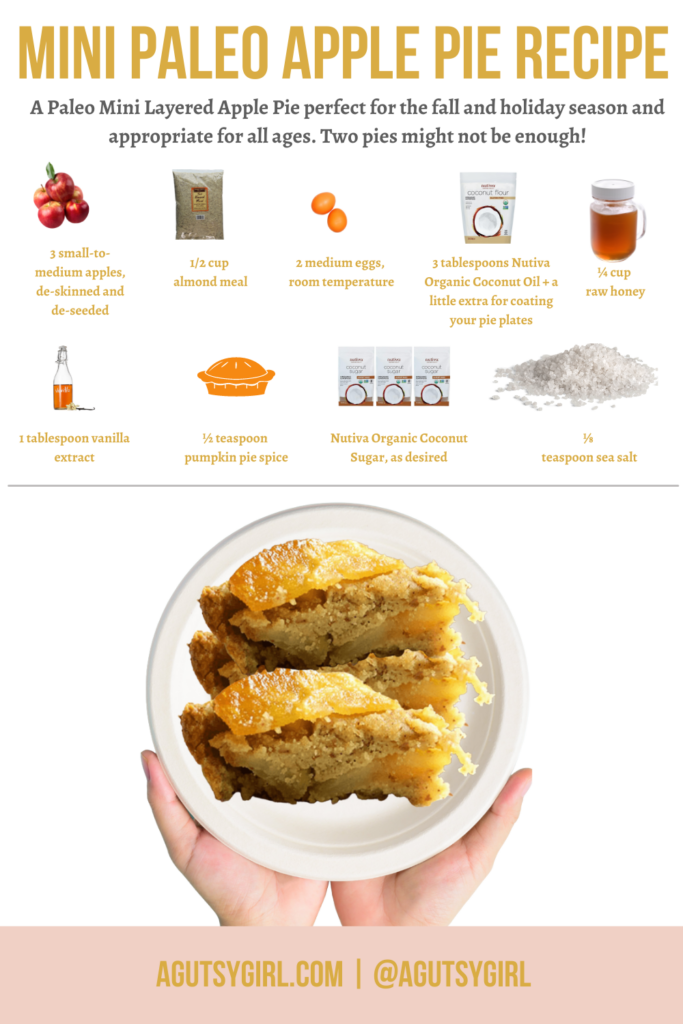 Mini Pie Crust {for a Layered Paleo Apple Pie} agutsygirl.com #minipiecrust #piecrust #applepie