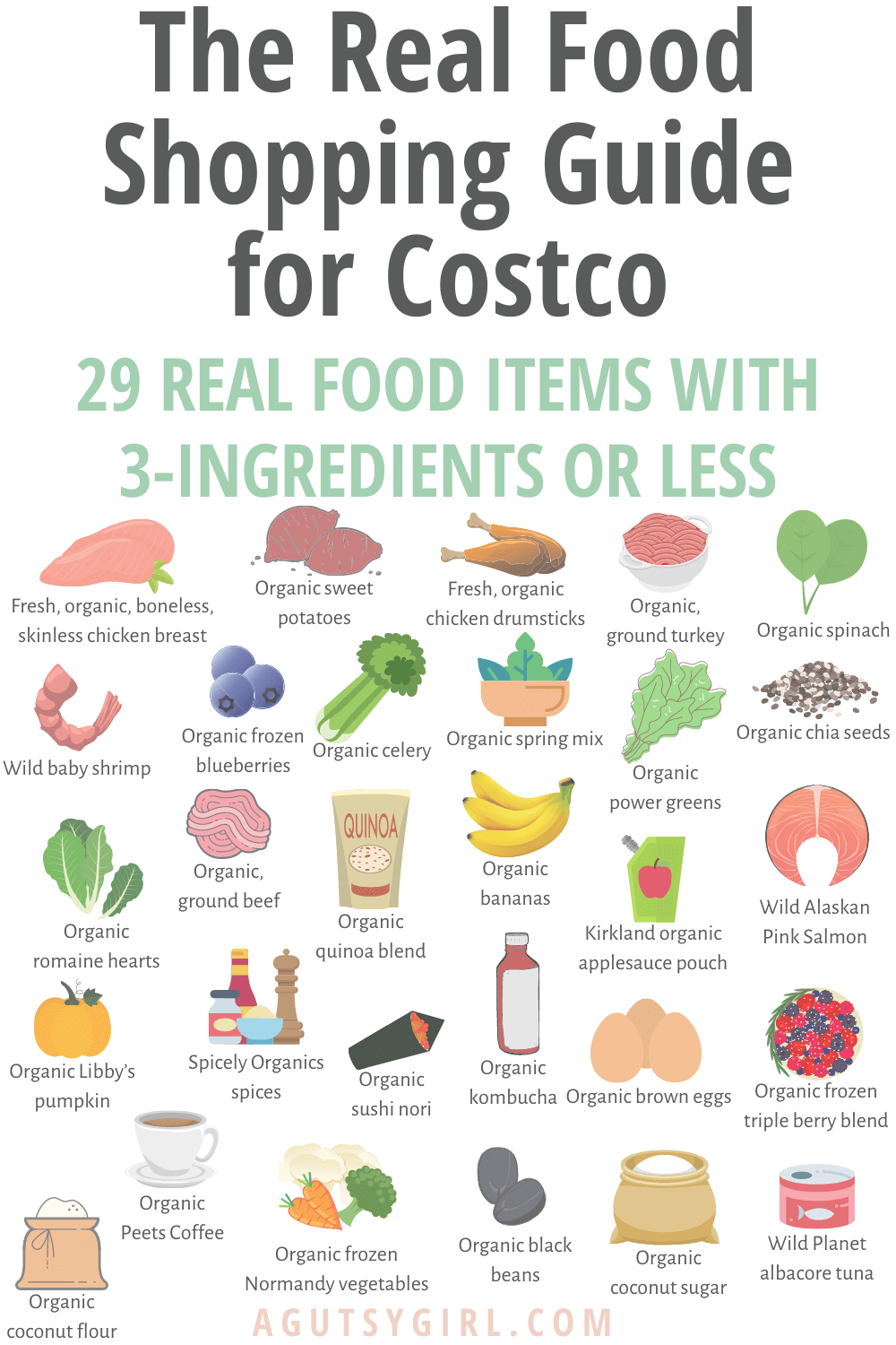 The Real Food Shopping Guide for Costco agutsygirl.com 3-ingredients or less #costco #guthealth #costcofinds #3ingredients