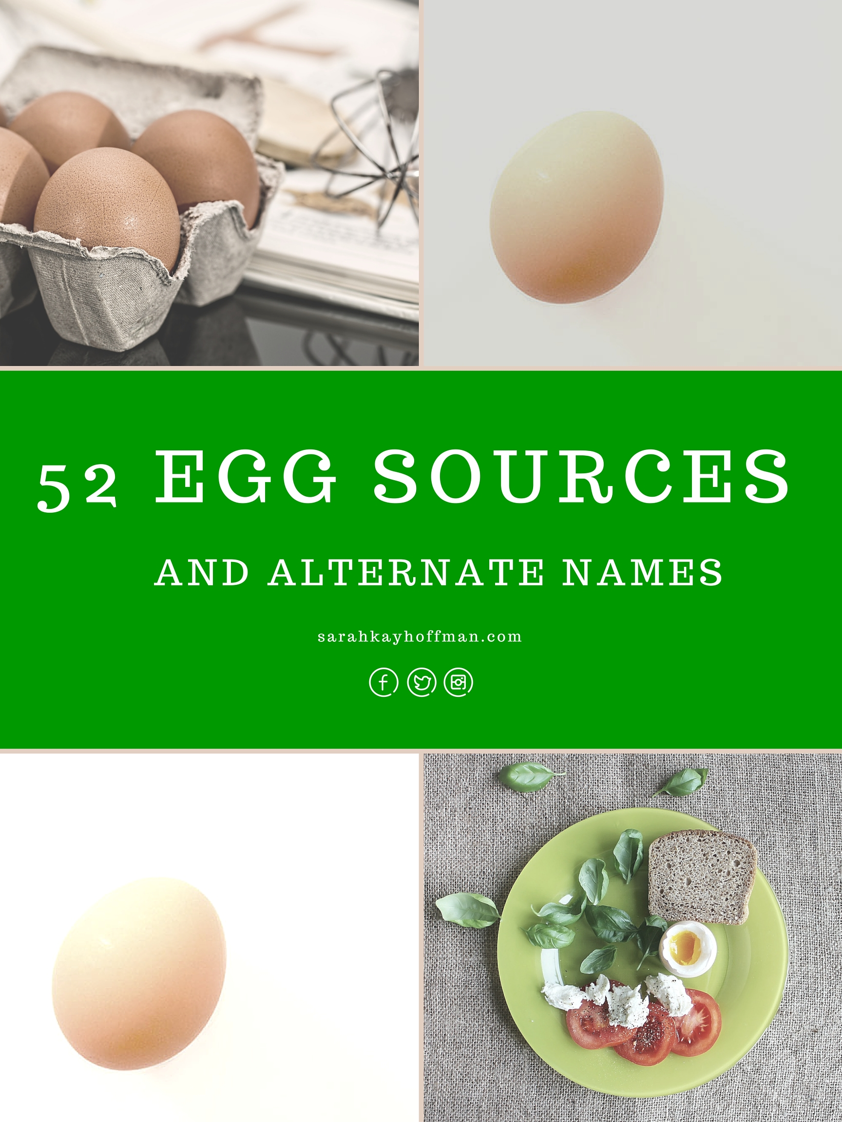 52 Egg Sources and alternate names Egg Allergy and Egg Intolerance sarahkayhoffman.com #guthealth #eggs #healthyliving