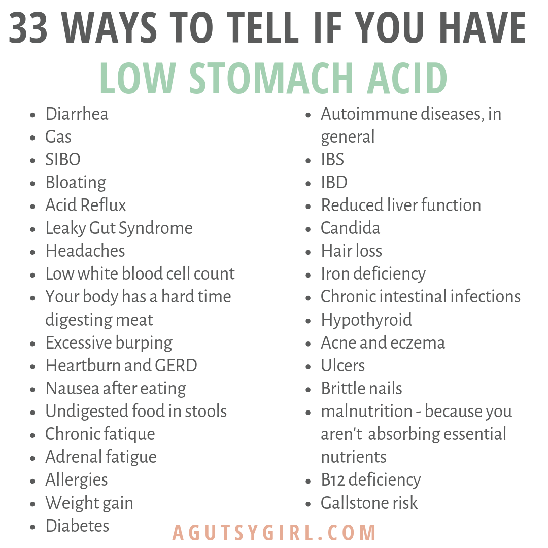 33 Ways to Tell if You Have Low Stomach Acid agutsygirl.com #stomachacid #guthealth #ibs