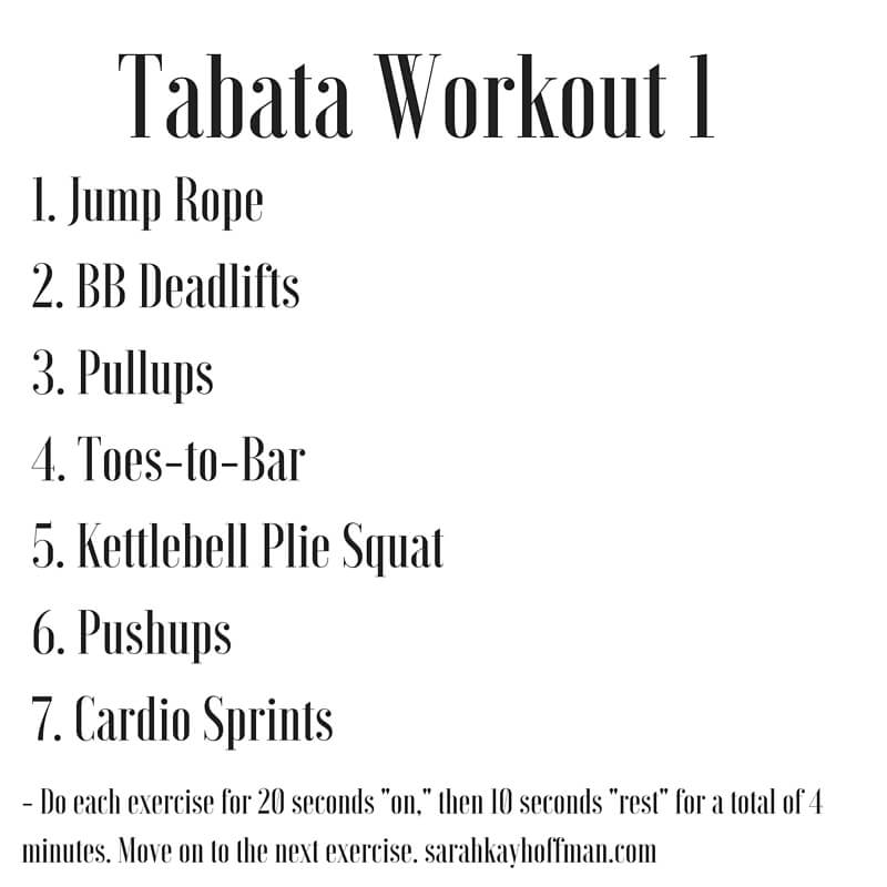 Tabata Workouts Tabata Workout 1 sarahkayhoffman.com