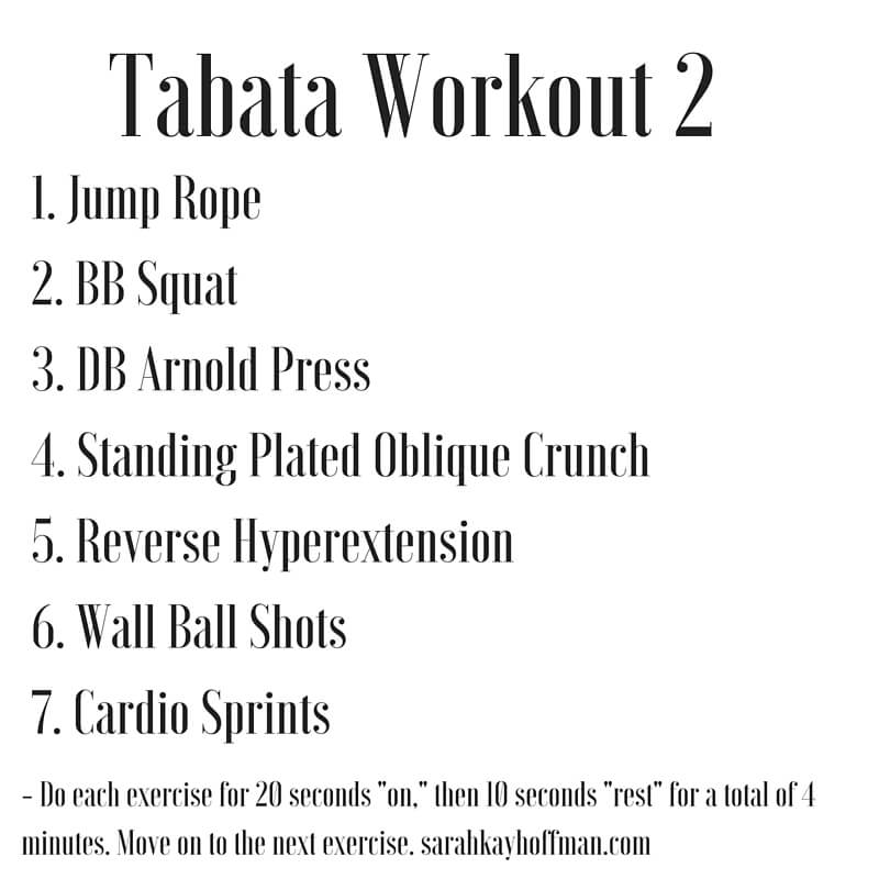 Tabata Workouts Tabata Workout 2 sarahkayhoffman.com