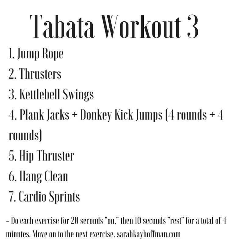 Tabata Workouts Tabata Workout 3 sarahkayhoffman.com