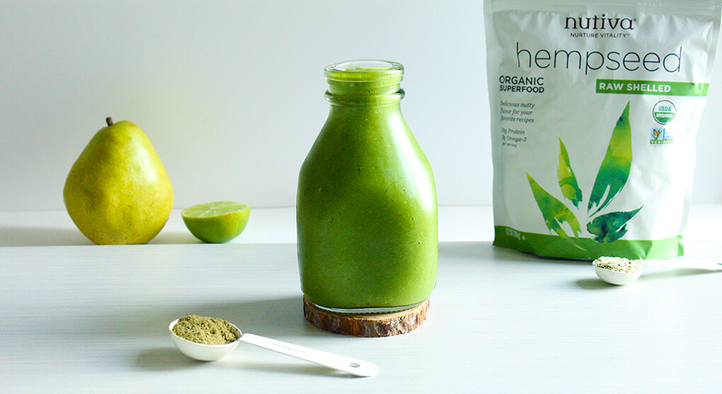 3 Healthy Smoothie Recipes Hemp and Pear-licious Perfection Smoothie sarahkayhoffman.com Nutiva
