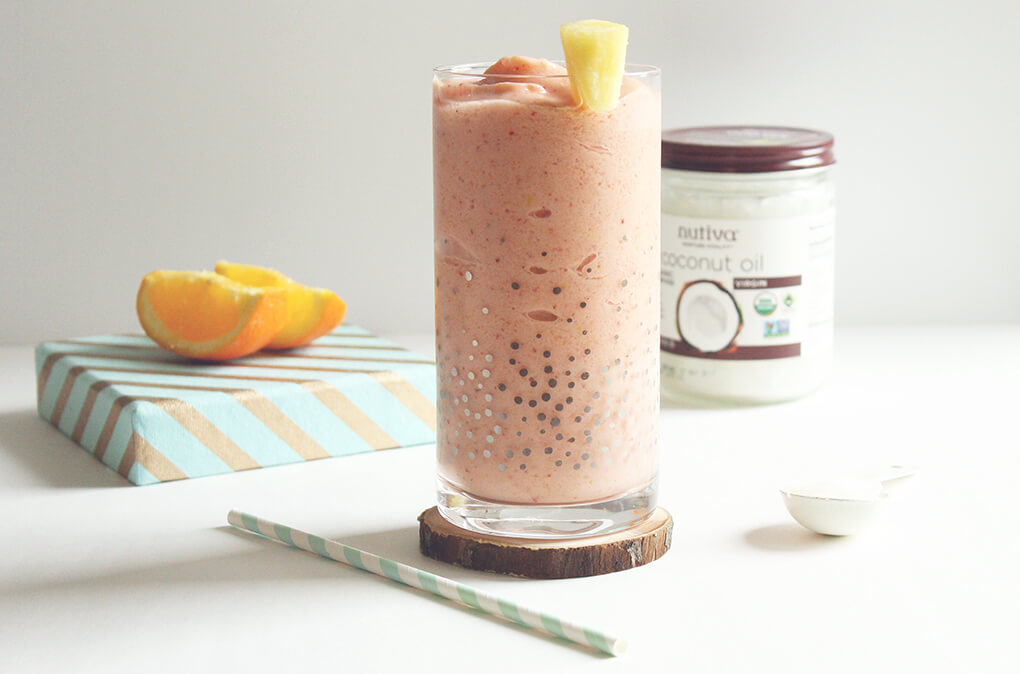 3 Healthy Smoothie Recipes Pine Papaya-Yay! Smoothie sarahkayhoffman.com Nutiva