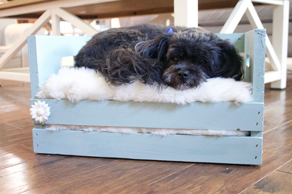 DIY Farmhouse Wooden Crate Bed for Puppy sarahkayhoffman.com Suburban Farmhouse Fiona