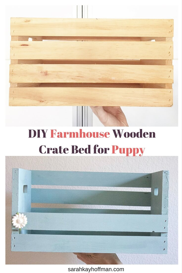 DIY Farmhouse Wooden Crate Bed for Puppy sarahkayhoffman.com