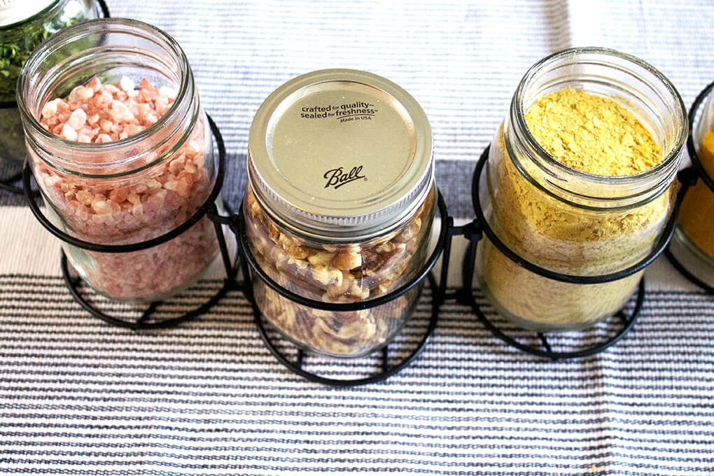DIY Mason Jar Table Centerpieces sarahkayhoffman.com Himalayan salt, raw walnuts, nutritional yeast