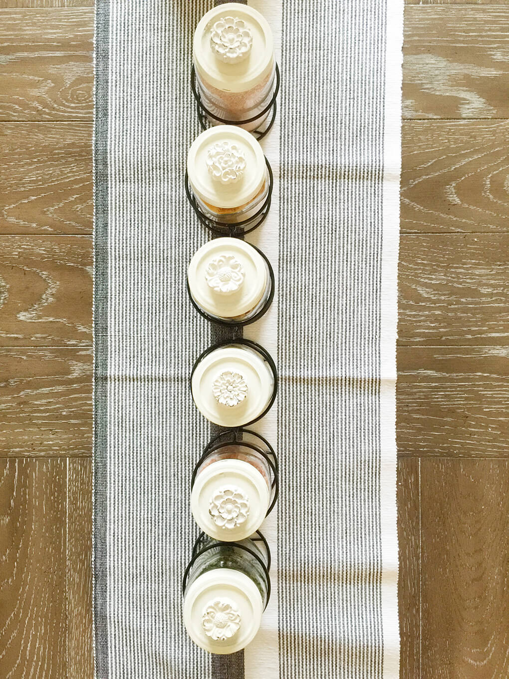 DIY Mason Jar Table Centerpieces sarahkayhoffman.com Row of lids