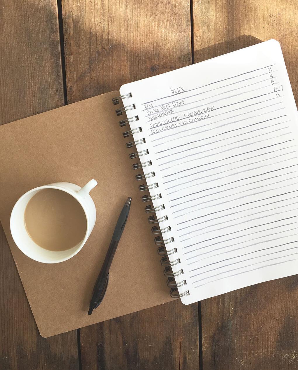 How to Create a Gut Healing Bullet Journal via sarahkayhoffman.com Bullet Journal Index