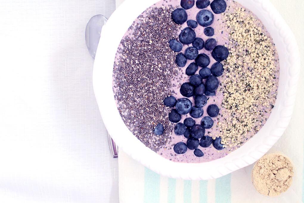 Recipes for the Family via sarahkayhoffman.com Blueberry Protein Smoothie Bowl Nutiva Organic Plant Protein Superfood 30 Shakes Vanilla Smoothies