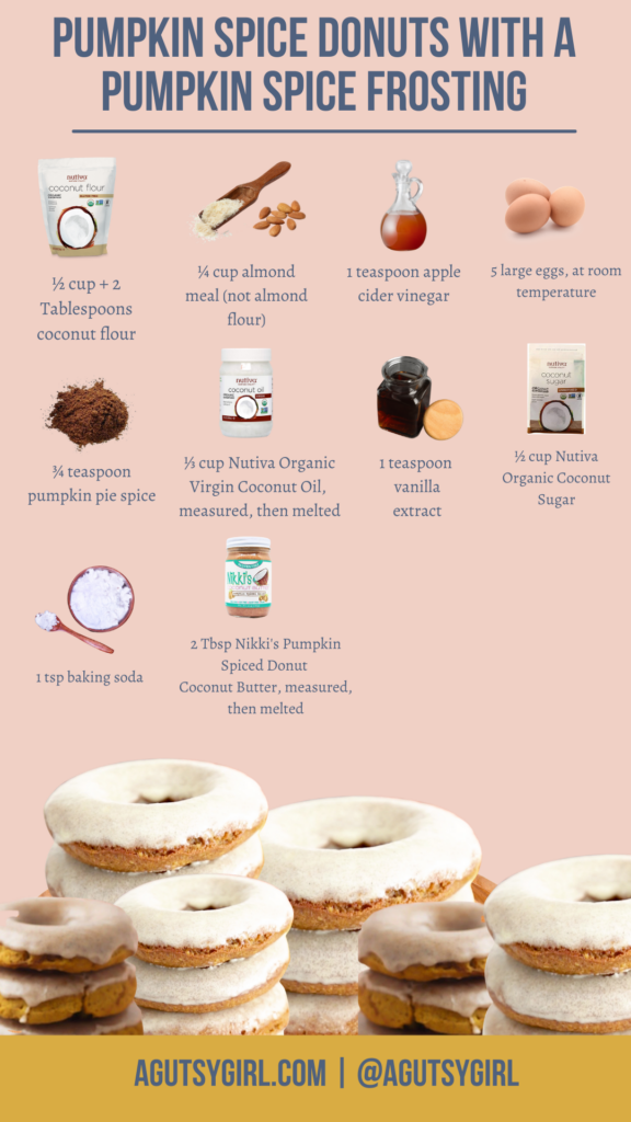 Baked Pumpkin Donuts {Pumpkin Spiced Donuts} agutsygirl.com #bakeddonuts #pumpkinspice ingredients