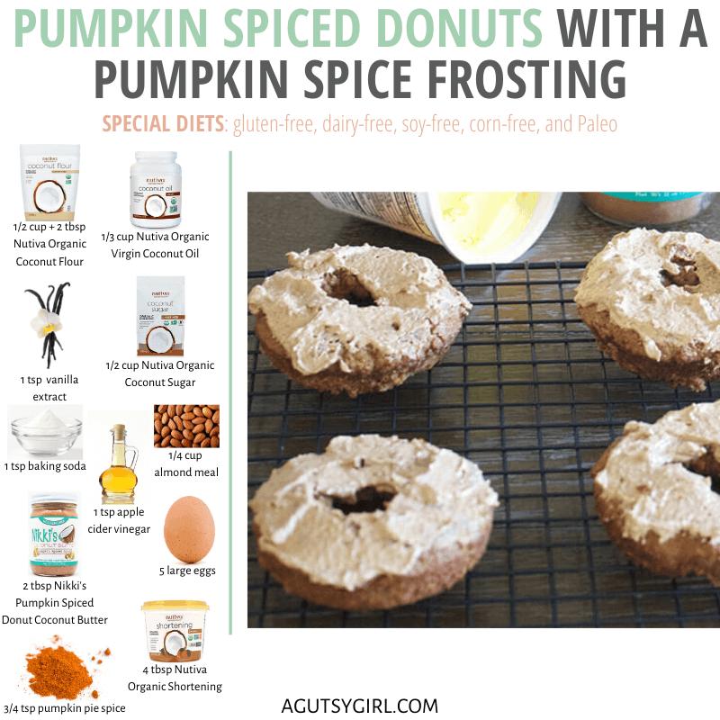 Pumpkin Spiced Donuts agutsygirl.com #pumpkin #paleoreceipes #pumpkinspice #glutenfreerecipes