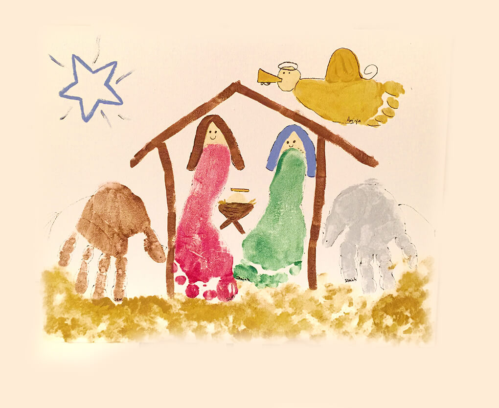 Merry Christmas sarahkayhoffman.com Hand and Feet Manger Scene