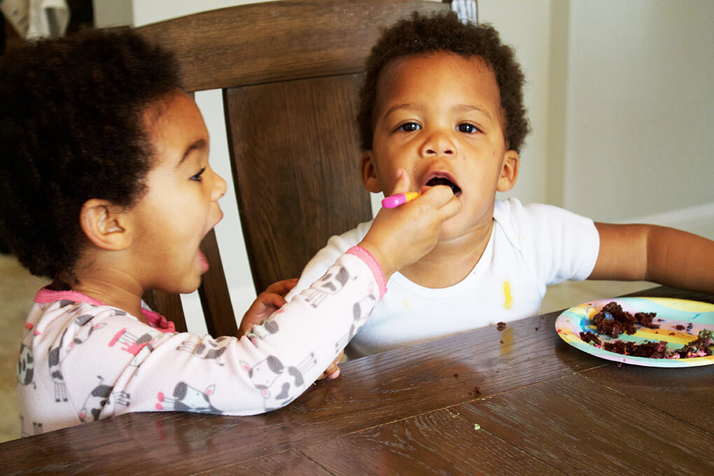Paleo Birthday Cake with Rainbow Unicorn Frosting Samarah and Isaiah sarahkayhoffman.com