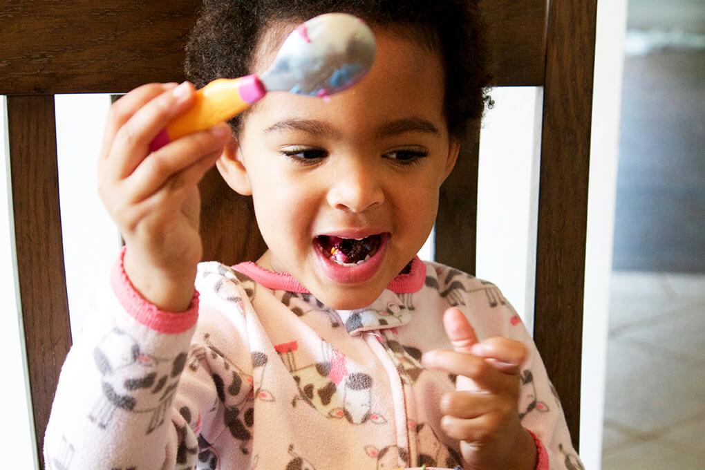 Paleo Birthday Cake with Rainbow Unicorn Frosting Samarah with Cake sarahkayhoffman.com Best Paleo Kids Recipes