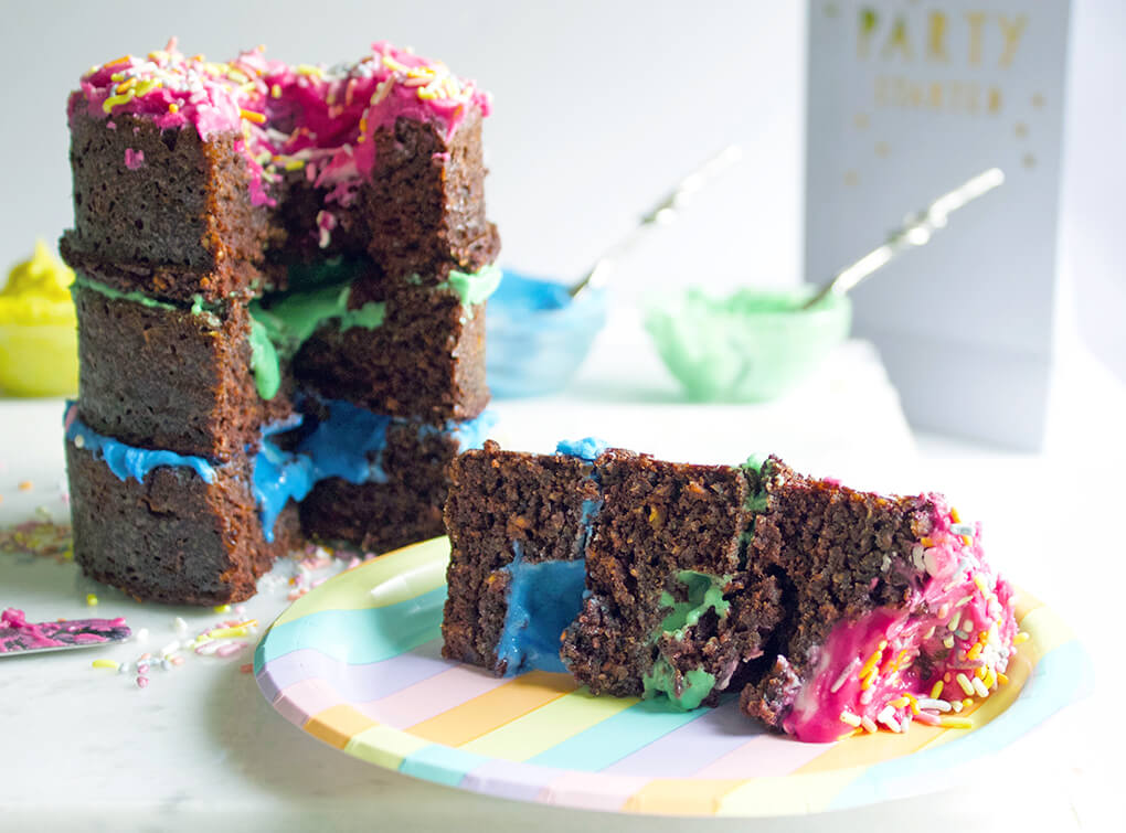 Paleo Birthday Cake with Rainbow Unicorn Frosting Yum Best Paleo Recipes sarahkayhoffman.com