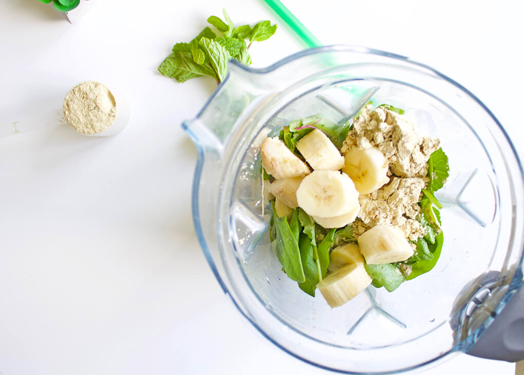 Vanilla Mint Shamrock Protein Shake sarahayhoffman.com Blender