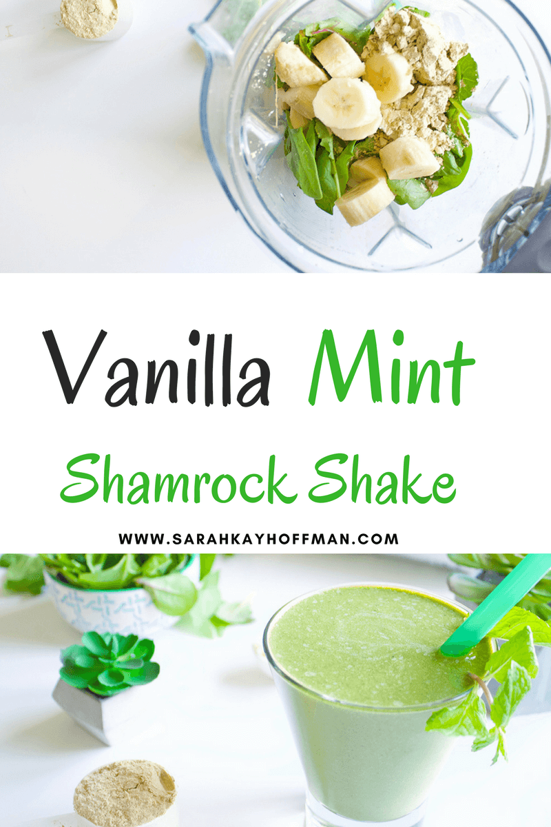 Vanilla Mint Shamrock Protein Shake sarahayhoffman.com