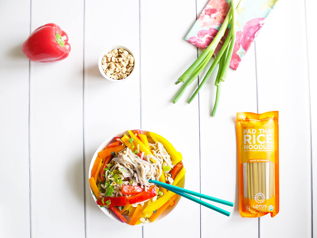 Summer Pad Thai Noodle Salad sarahkayhoffman.com Lotus Foods The Rising Cost of Food Carbs and #SIBO #guthealth #ibs
