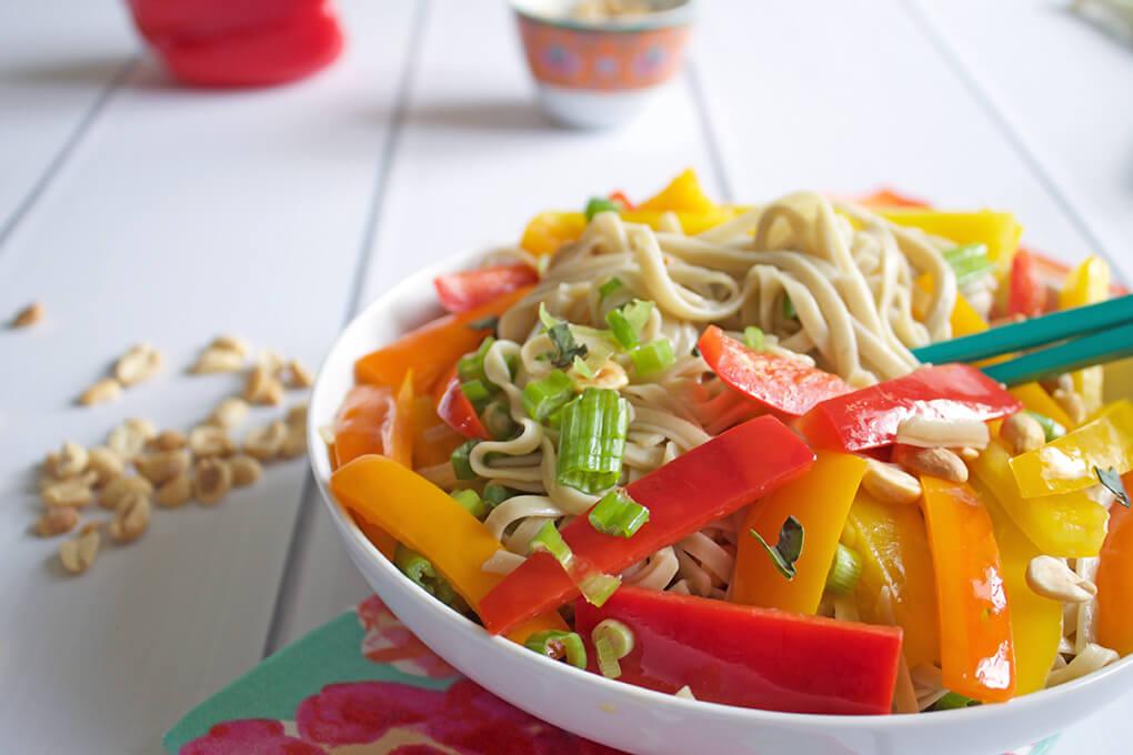 Summer Pad Thai Noodle Salad sarahkayhoffman.com Lotus Organic Noodles