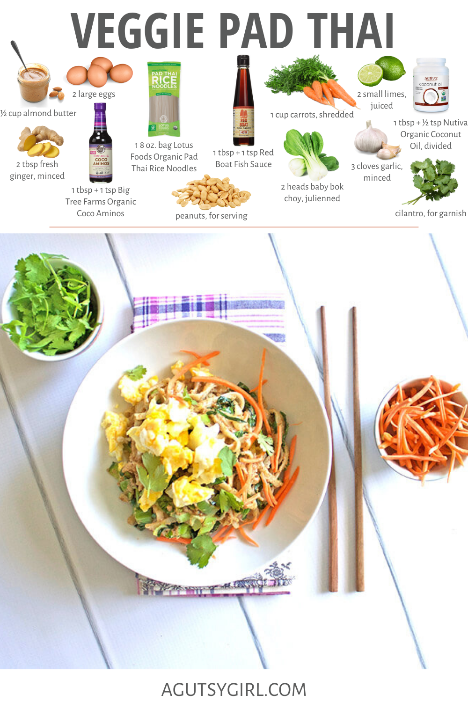 Veggie Pad Thai agutsygirl.com #padthai #glutenfree #glutenfreerecipes