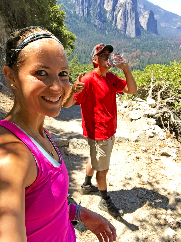 Hiking Yosemite sarahkayhoffman.com JJ, SKH stop 4-mile hike Glacier Point