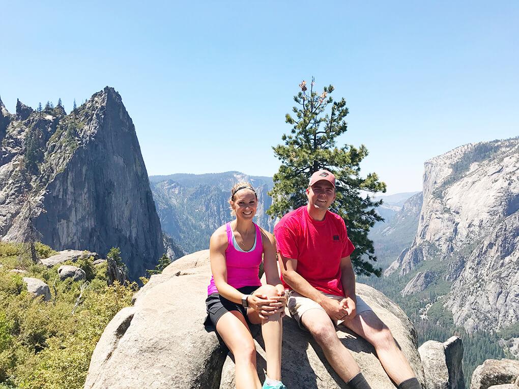 Hiking Yosemite sarahkayhoffman.com JJ and SKH rest point Glacier