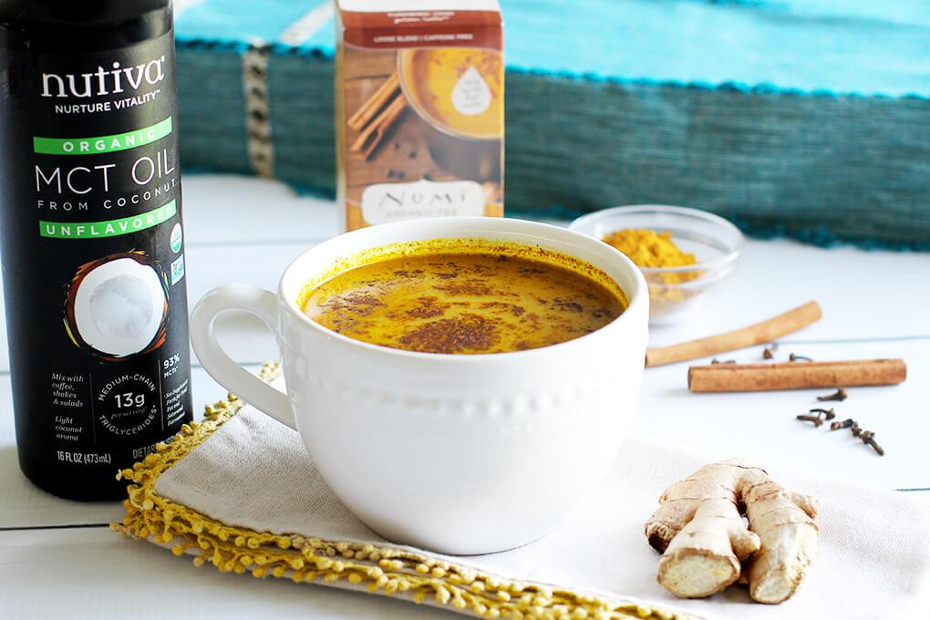 My Favorites Issue 11 sarahkayhoffman.com Nutiva Organic MCT Oil + Numi Organic Tea Turmeric Chai Golden Latte