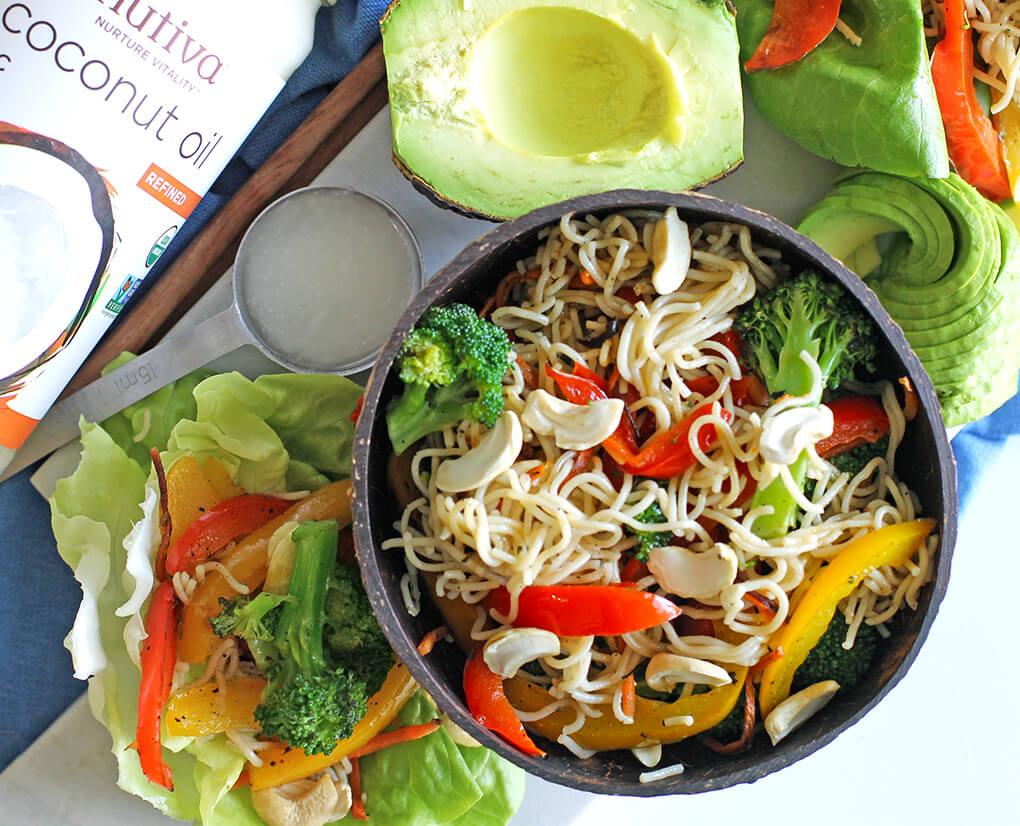 Gluten Free Recipe Roundup Four sarahkayhoffman.com Vegan Ramen Noodle Lettuce Wraps Noodles