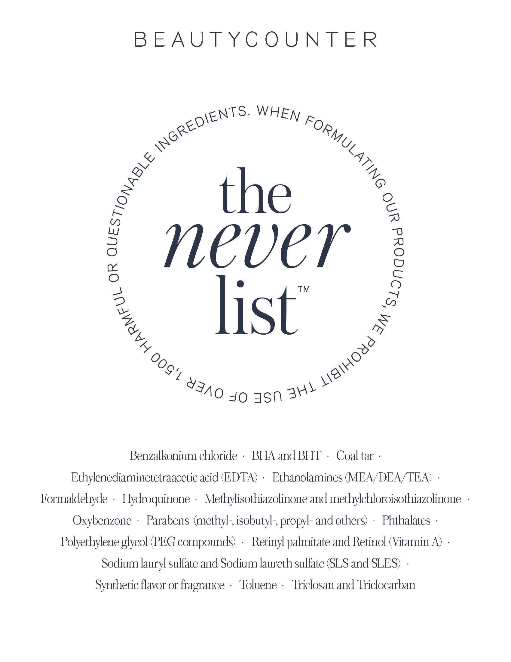 Beautycounter Never List sarahkayhoffman.com