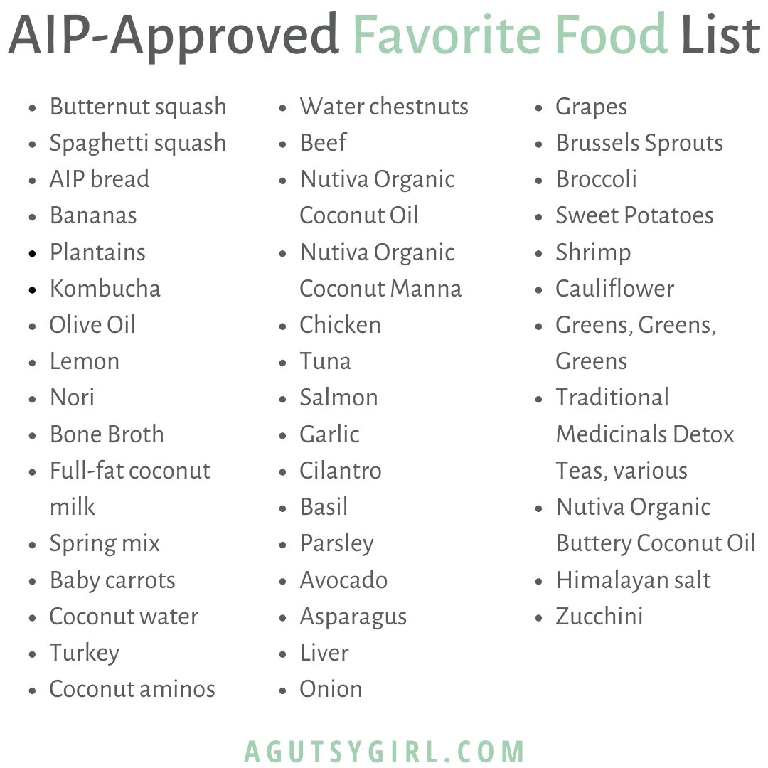Favorite AIP Approved Food List agutsygirl.com #aip #aipdiet #guthealth