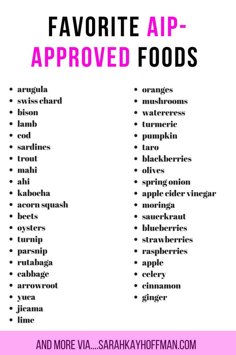 Favorite AIP Approved Foods sarahkayhoffman.com