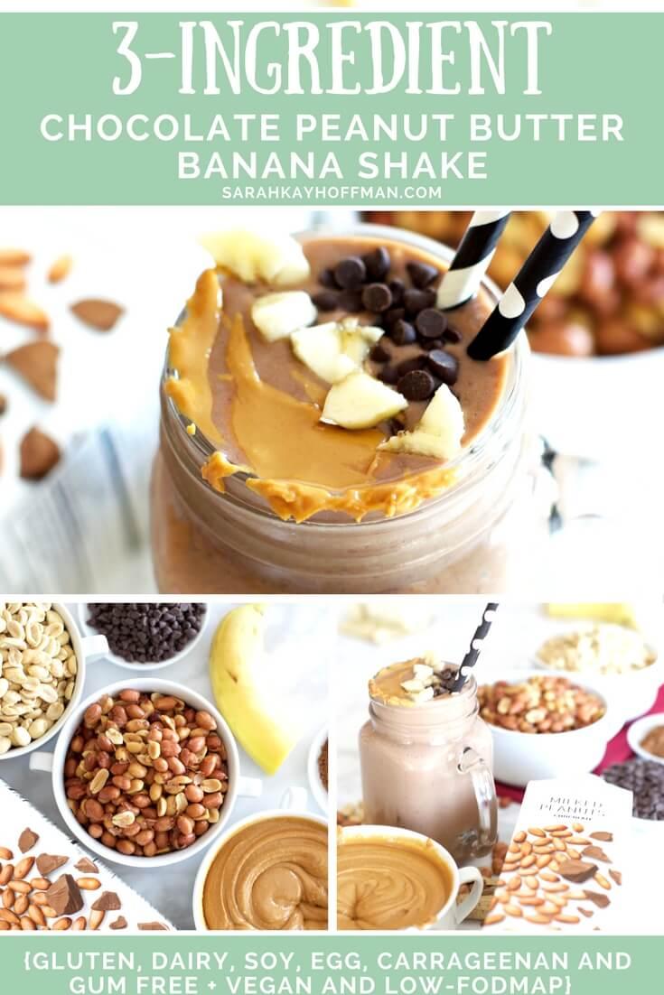 3-Ingredient Chocolate Peanut Butter Banana Shake sarahkayhoffman.com dairy free low FODMAP gluten free