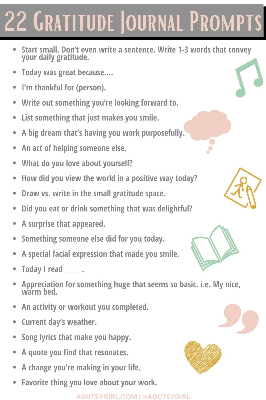Gratitude Journal Prompts agutsygirl.com #gratitude #gratitudejournal #bulletjournaling