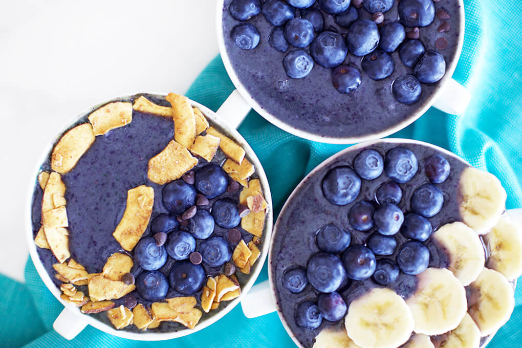 Gluten Free Recipe Roundup Six sarahkayhoffman.com Blueberry Smoothie Bowl Elmhurst Vegan milks