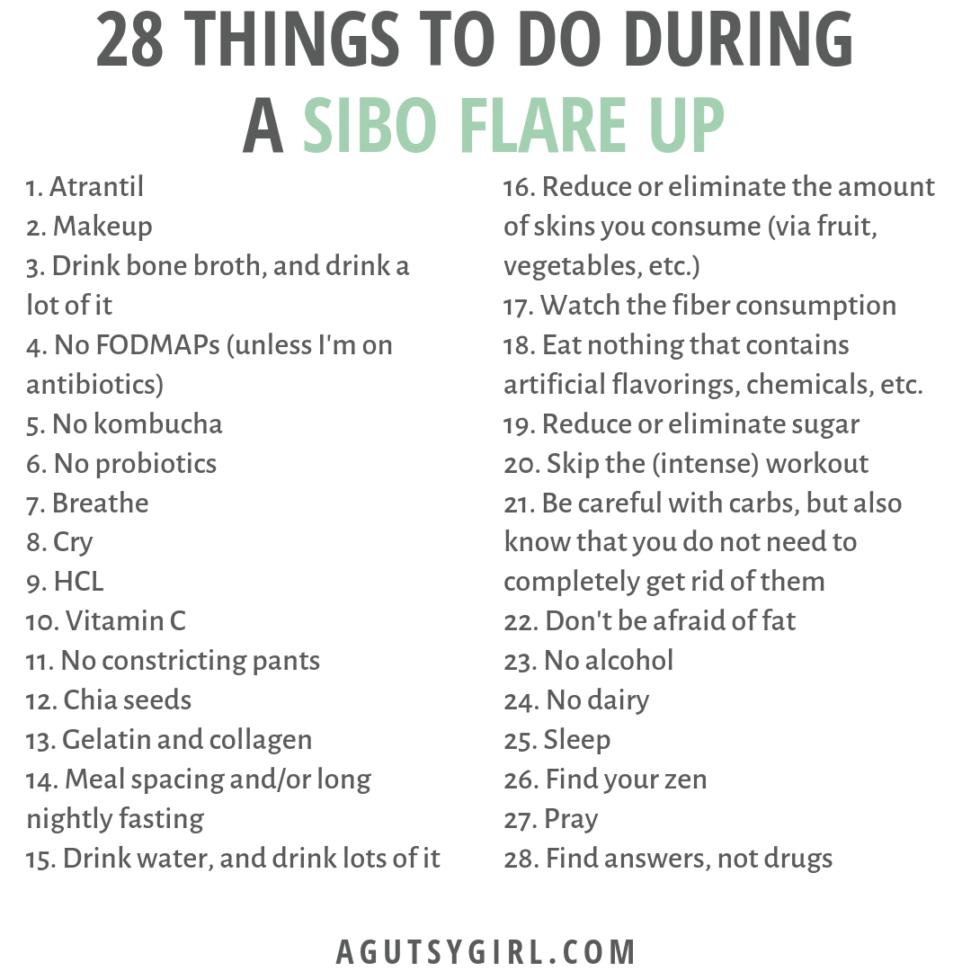 28 Things to Do During a SIBO Flare Up agutsygirl.com IG gut healing health IBS #ibs #sibo #guthealth