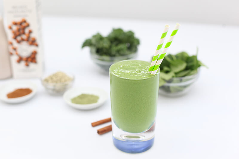 Boosted Green Smoothie www.sarahkayhoffman.com plant based smoothies Elmhurst Milked