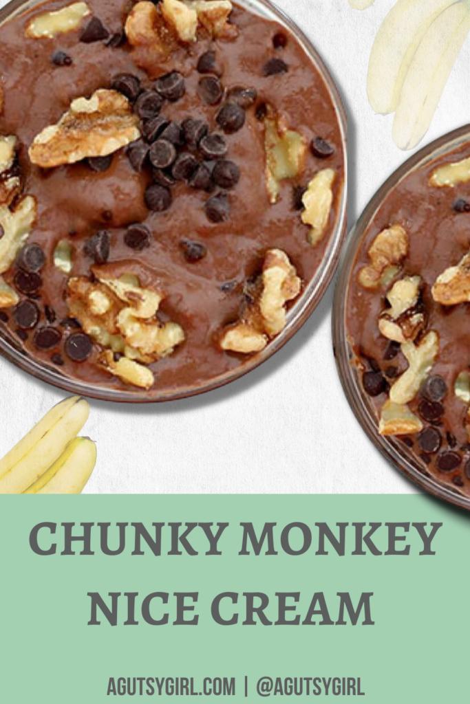 Chunky Monkey Nice Cream agutsygirl.com #chunkymonkey #nicecream #guthealth