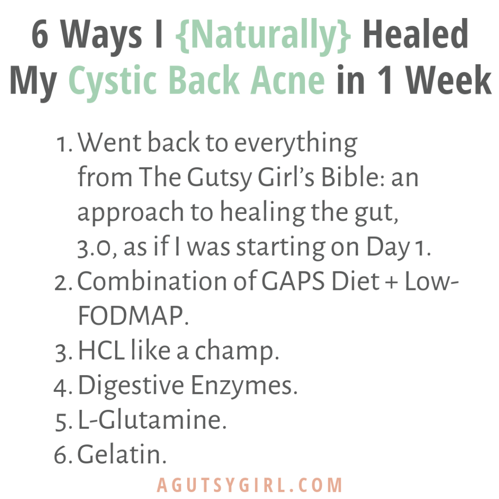 How I Naturally Healed Cystic Back Acne agutsygirl.com #acne #lowfodmap #supplements #acnesolutions