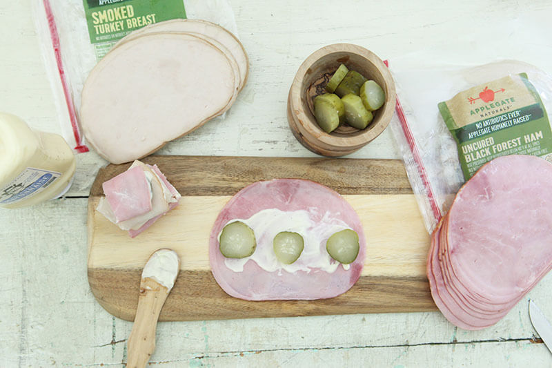 Minnesota Sushi www.sarahkayhoffman.com pickle ham turkey mayo #healthyliving #snacks #recipe #glutenfree
