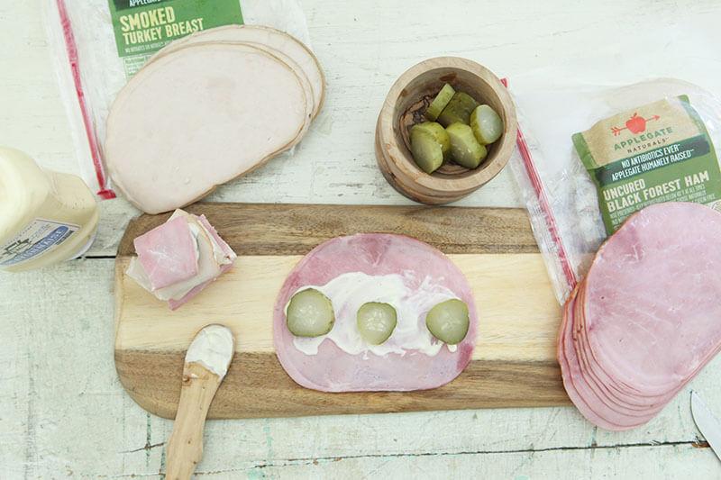 Minnesota Sushi www.sarahkayhoffman.com pickle ham turkey mayo #healthyliving #snacks #recipe #glutenfree