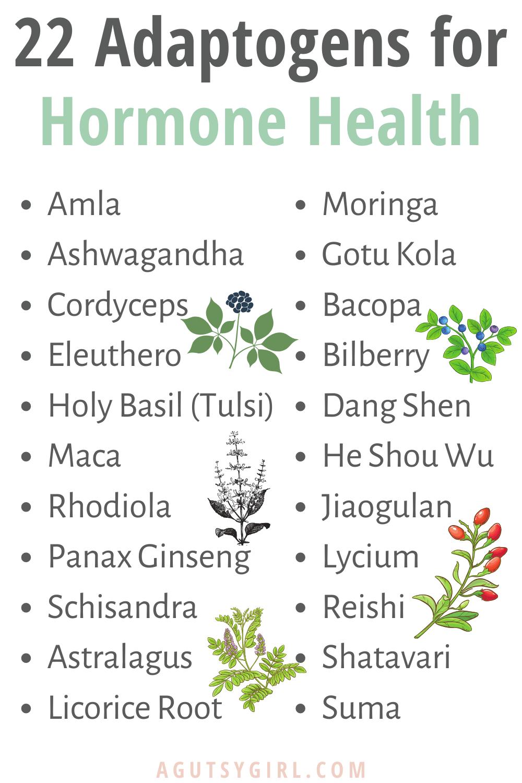 22 Adaptogens for Hormone Health agutsygirl.com #hormones #hormone #adaptogen