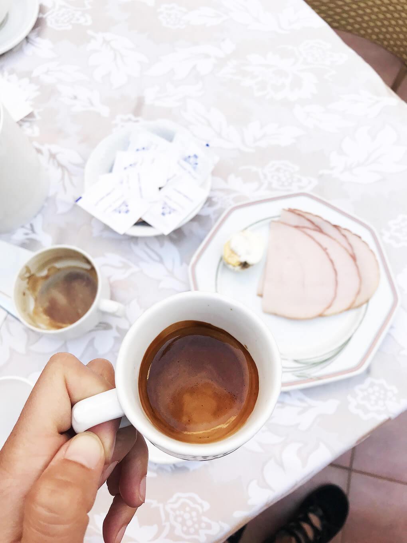 Kilometer Zero www.sarahkayhoffman.com Italian breakfast coffee meat #travel #italy #glutenfree