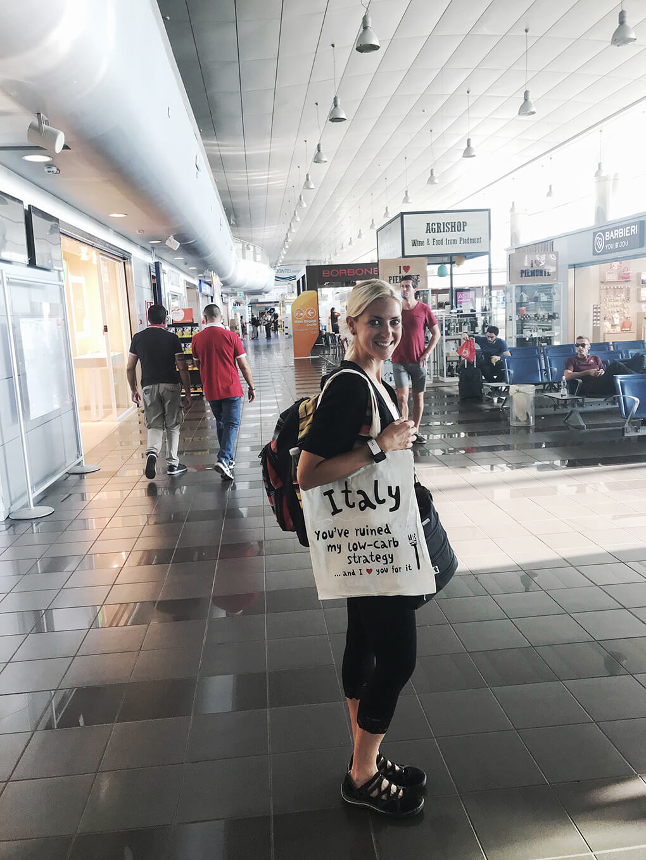 Kilometer Zero www.sarahkayhoffman.com SKH Italy airport low-carb bag #travel #italy #glutenfree
