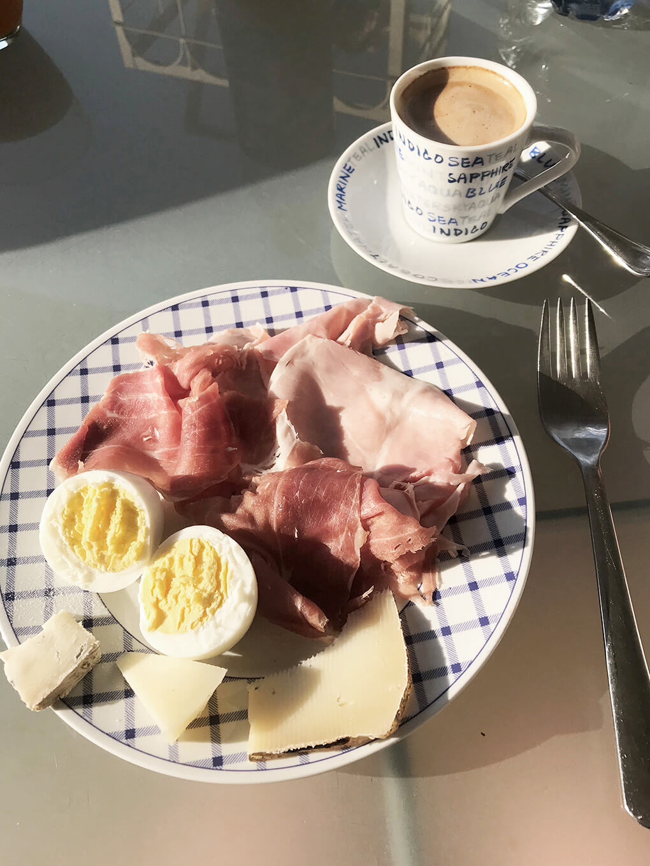 Kilometer Zero www.sarahkayhoffman.com egg meat coffee #travel #italy #glutenfree