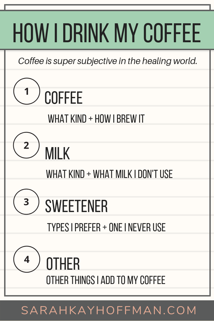 How I Drink My Coffee www.sarahkayhoffman.com 4 pieces for Healthy Living #coffee #cafe #guthealth #healthyliving.png
