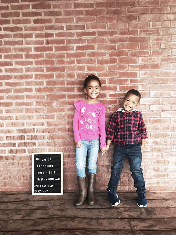 Preschool Mom www.sarahkayhoffman.com Samarah and Isaiah Montessori first day #preschool #lifestyleblogger #firstdayofschool